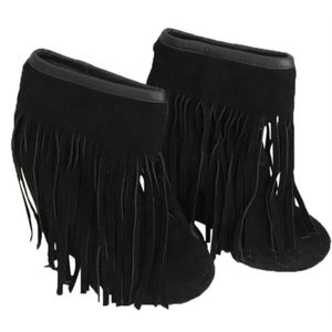 KOOLABURRA Black Fringe Wedge Booties Boots 7